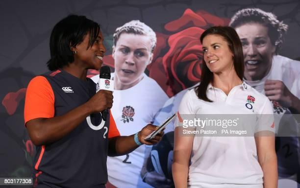 Maggie Alphonsi and Sarah Hunter during the squad announcement at Twickenham Stadium London