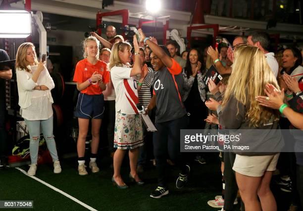 Maggie Alphonsi during the squad announcement at Twickenham Stadium London