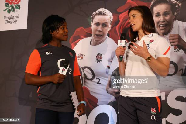 Maggie Alphonsi former England Women's Rugby player speaks to Sarah Hunter captain of England Women's Rugby during England Women's Rugby World Cup...