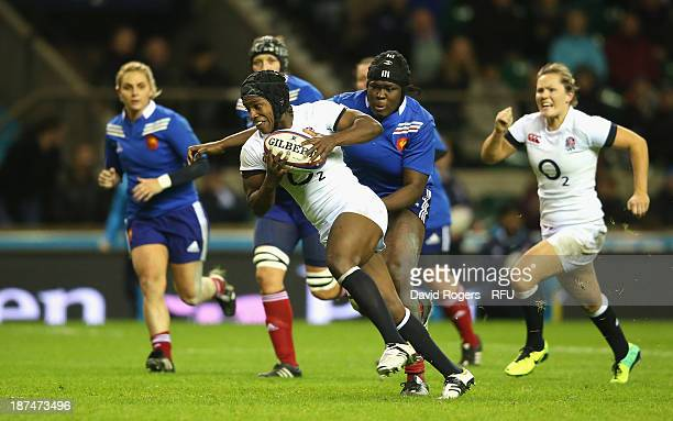 Maggie Alphonsi of England breaks with the ball during the International match between England Women and France Women at Twickenham Stadium on...
