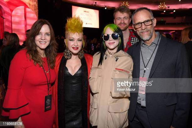 Maggie Baird Cyndi Lauper Billie Eilish Finneas O'Connell and Patrick O'Connell attend Billboard Women In Music 2019 presented by YouTube Music on...