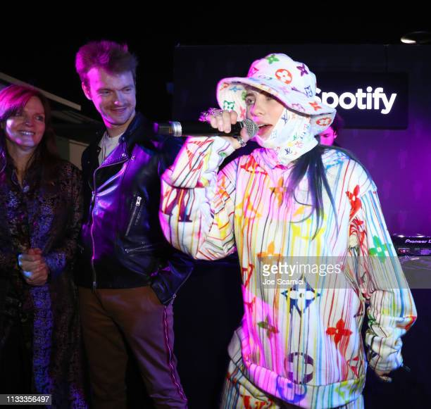 Maggie Baird Finneas O'Connell and Billie Eilish are seen on stage as Spotify presents The Billie Eilish Experience at The Stalls at Skylight Row on...