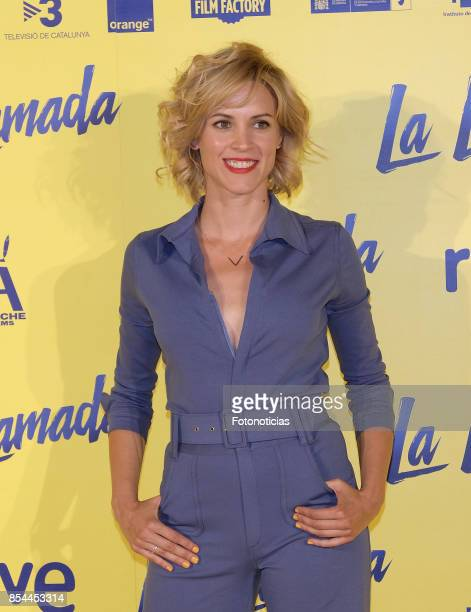 Maggie Civantos attends the 'La Llamada' premiere yellow carpet at the Capitol cinema on September 26 2017 in Madrid Spain