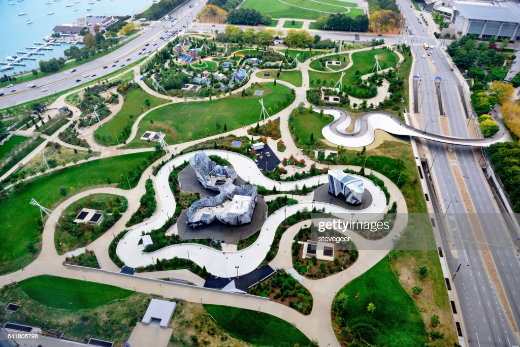Maggie Daley Park, downtown Chicago, from above : Stock Photo
