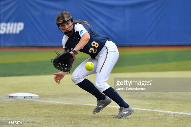 Maggie Dunnett of the Augustana Vikings makes a play at third base against the Texas AMKingsville Javelinas during the Division II Women's Softball...