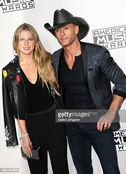 Maggie Elizabeth McGraw and musician Tim McGraw attend the 2016 American Music Awards at Microsoft Theater on November 20 2016 in Los Angeles...