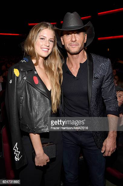 Maggie Elizabeth McGraw and musician Tim McGraw during the 2016 American Music Awards at Microsoft Theater on November 20 2016 in Los Angeles...