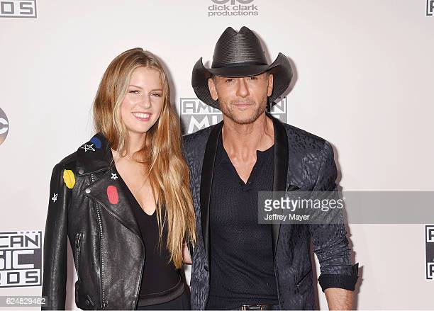 Maggie Elizabeth McGraw and singer/musician Tim McGraw arrive at the 2016 American Music Awards at Microsoft Theater on November 20 2016 in Los...