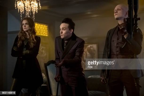 Maggie Geha Robin Lord Taylor and Anthony Carrigan in 'The Fear Reaper' episode of GOTHAM airing Thursday Sept 28 on FOX