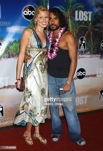 Maggie Grace and Naveen Andrews during 'Lost' Season 2 Premiere After Party at Royal Hawaiian Hotel in Honolulu Hawaii United States
