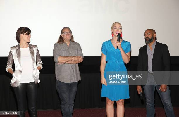 Maggie Grace Greg Nicotero Pollyanna McIntosh and Khary Payton attend AMC Survival Sunday The Walking Dead/Fear the Walking Dead on April 15 2018 in...