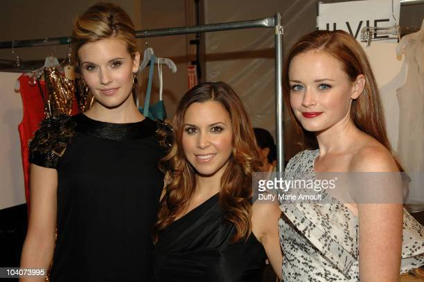 Maggie Grace Monique Lhuillier and Alexis Bledel attend the Monique Lhuillier Spring 2011 fashion show during MercedesBenz Fashion Week at The Stage...