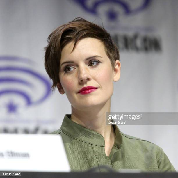 Maggie Grace speaks onstage during the Wondercon Fear the Walking Dead panel at Anaheim Convention Center on March 31 2019 in Anaheim California