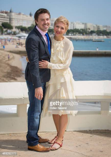 Maggie Gyllenhaal and Andrew Buchan pose during the photocall of 'The Honourable Woman' at MIPTV 2014 at Hotel Majestic on April 7 2014 in Cannes...