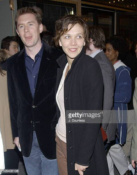 Maggie Gyllenhaal and guest during Opening Night of Jumpers Arrivals at Brooks Atkinson Theater in New York City New York United States