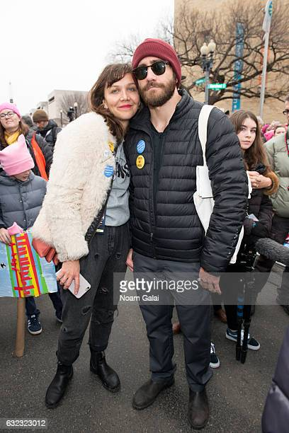 Maggie Gyllenhaal and Jake Gyllenhaa attend the Women's March on Washington on January 21 2017 in Washington DC