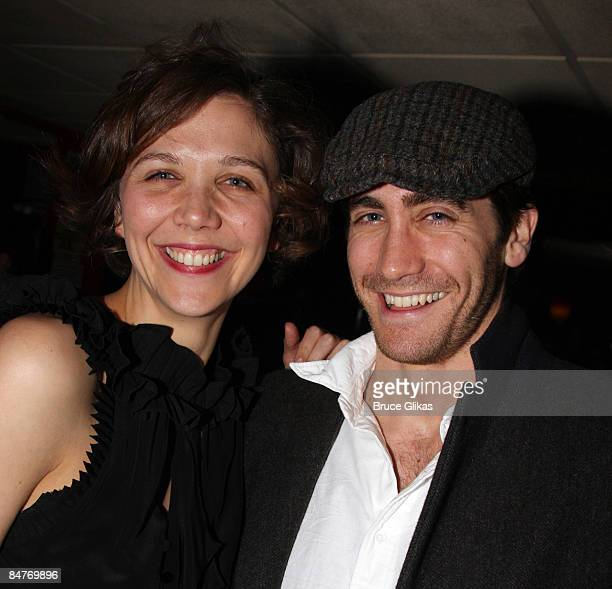 Maggie Gyllenhaal and Jake Gyllenhaal attend the after party for the offbroadway opening night of Uncle Vanya at Pangea on February 12 2009 in New...
