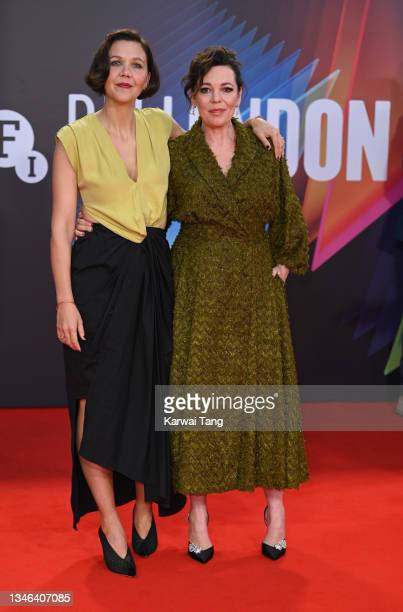 """Maggie Gyllenhaal and Olivia Colman attend """"The Lost Daughter"""" UK Premiere during the 65th BFI London Film Festival at The Royal Festival Hall on..."""