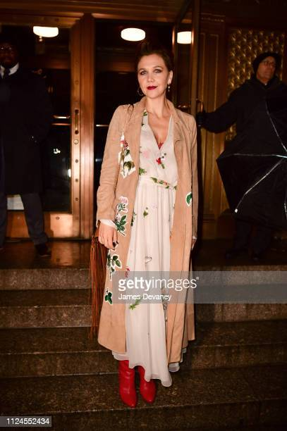 Maggie Gyllenhaal arrives to Oscar De La Renta fashion show at the Cunard Building during New York Fashion Week on February 12 2019 in New York City