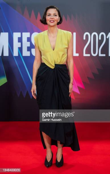 """Maggie Gyllenhaal attends """"The Lost Daughter"""" UK Premiere during the 65th BFI London Film Festival at The Royal Festival Hall on October 13, 2021 in..."""