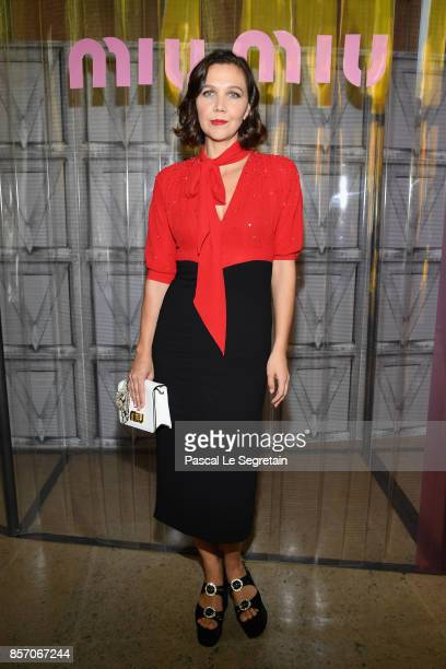 Maggie Gyllenhaal attends the Miu Miu show as part of the Paris Fashion Week Womenswear Spring/Summer 2018 on October 3 2017 in Paris France