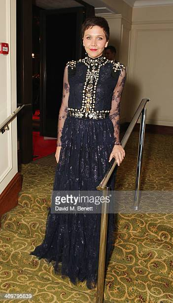 Maggie Gyllenhaal attends the official dinner party after the EE British Academy Film Awards at The Grosvenor House Hotel on February 16 2014 in...