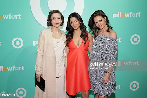 Maggie Gyllenhaal Camila Alves and Katie Holmes attend Target Pillowfort launch party at Highline Stages on March 3 2016 in New York City