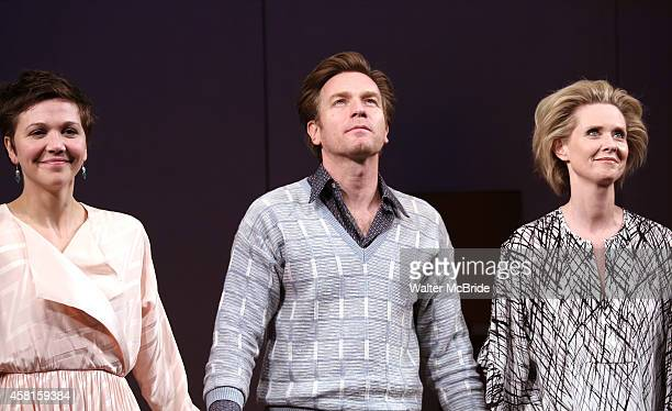 Maggie Gyllenhaal Ewan McGregor and Cynthia Nixon during the Roundabout Theatre Company's Broadway Opening Night Curtain Call for 'The Real Thing' at...