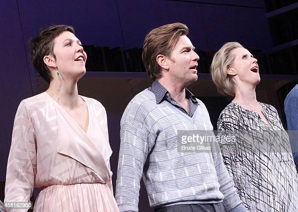 Maggie Gyllenhaal Ewan McGregor and Cynthia Nixon take their The Opening Night Curtain Call of The Real Thing on Broadway at American Airlines...