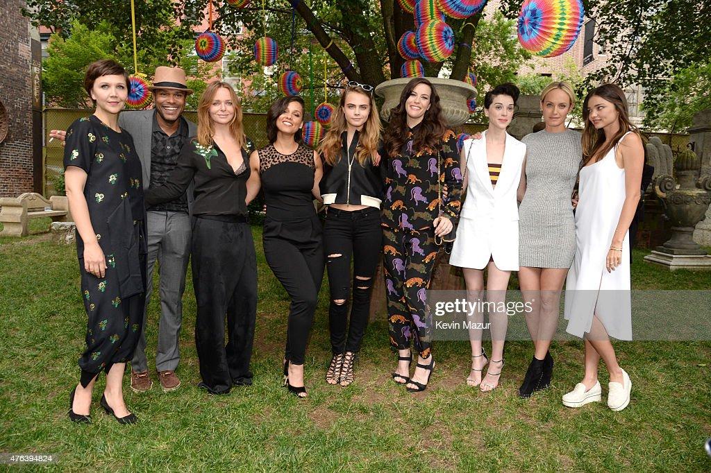 Maggie Gyllenhaal, Maxwell, Alicia Keys, Stella McCartney, Liv Tyler, Cara Delevingne Amber Valetta and Miranda Kerr attend the Stella McCartney Spring 2016 Resort Presentation on June 8, 2015 in New York City.