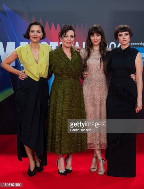 """Maggie Gyllenhaal, Olivia Colman, Dakota Johnson and Jessie Buckley attend """"The Lost Daughter"""" UK Premiere during the 65th BFI London Film Festival..."""