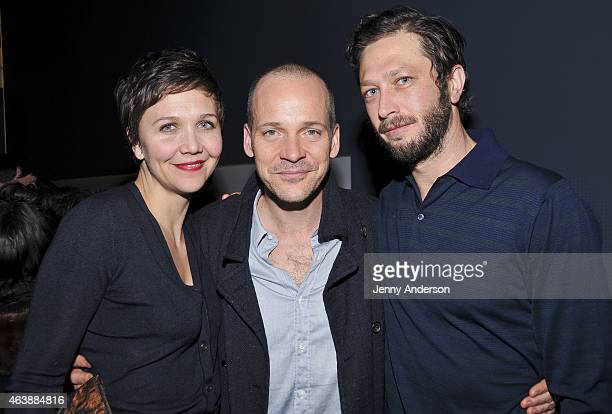 """Maggie Gyllenhaal, Peter Sarsgaard and Ebon Moss-Bachrach attend LCT3/Lincoln Center Theater's """"Verite"""" Opening Night Party at Claire Tow Theater on..."""