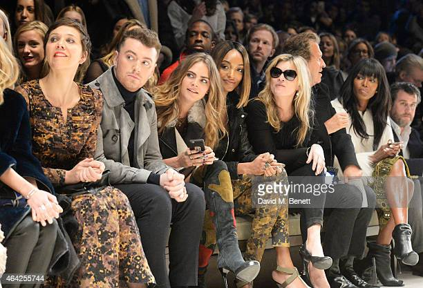 Maggie Gyllenhaal, Sam Smith, Cara Delevingne, Jourdan Dunn, Kate Moss, Mario Testino and Naomi Campbell attend the Burberry Prorsum AW 2015 show...