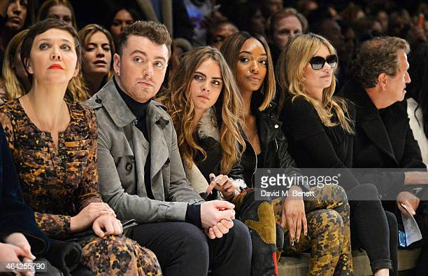Maggie Gyllenhaal, Sam Smith, Cara Delevingne, Jourdan Dunn, Kate Moss and Mario Testino attend the Burberry Prorsum AW 2015 show during London...