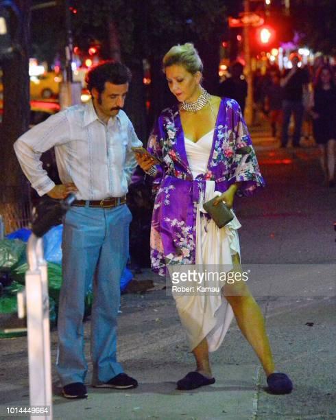 Maggie Gyllenhaal seen at 'The Deuce' film set in Manhattan on August 9, 2018 in New York City.