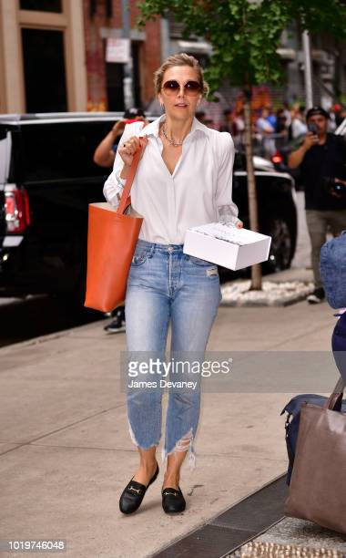 Maggie Gyllenhaal seen on the streets of Manhattan on August 19 2018 in New York City