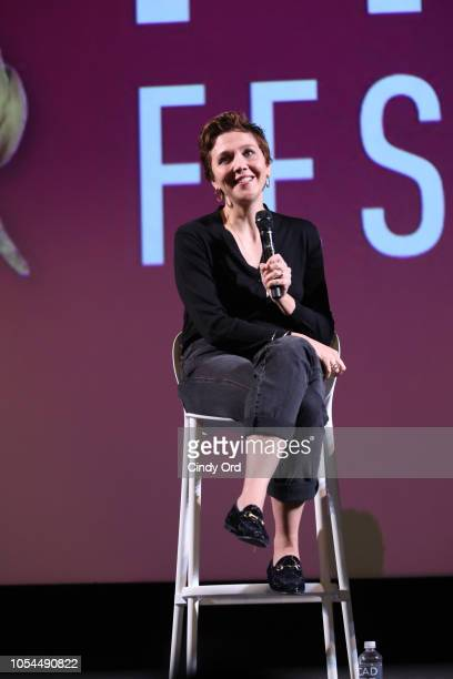Maggie Gyllenhaal speaks at the Outstanding Achievement In Acting And Producing Award onstage during the screening of 'The Kindergarten Teacher' at...