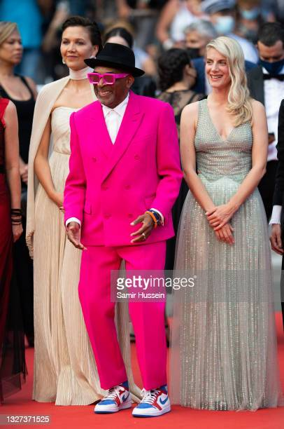 """Maggie Gyllenhaal, Spike Lee and Melanie Laurent attends the """"Annette"""" screening and opening ceremony during the 74th annual Cannes Film Festival on..."""