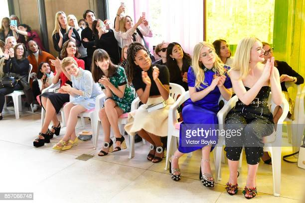 Maggie GyllenhaalSophia LillisStacy MartinNaomie HarrisDakota Fanning and Elle Fanning attend the Miu Miu show as part of the Paris Fashion Week...