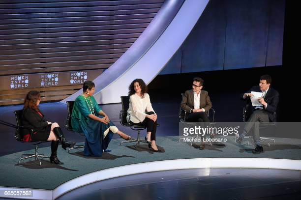 Maggie Haberman Barkha Dutt Ece Temelkuran Masha Gessen and David Remnick speak during the Eighth Annual Women In The World Summit at Lincoln Center...