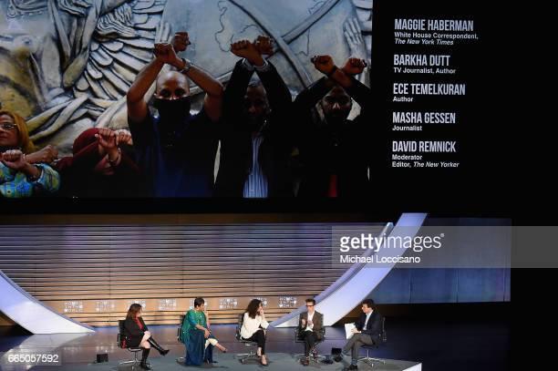 Maggie Haberman Barkha Dutt Ece Temelkuran Masha Gessen and David Remnick speak during the Eighth Annual Women In The World Summit at Lincoln Center...