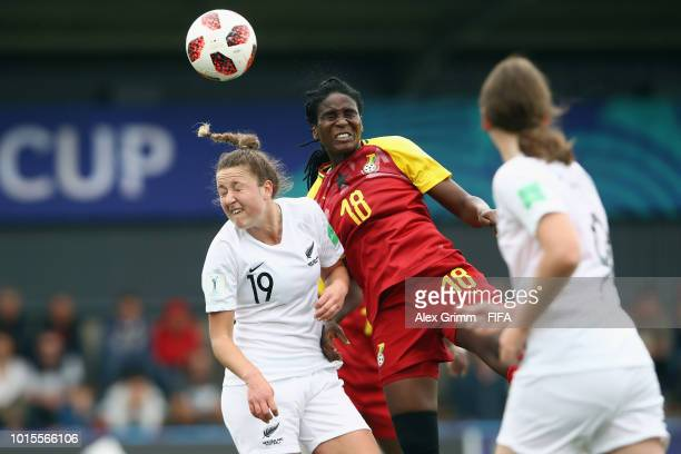 Maggie Jenkins of New Zealand jumps for a header with Blessing Agbomadzi of Ghana during the FIFA U20 Women's World Cup France 2018 group A match...