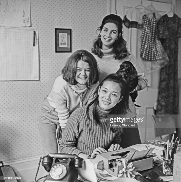 Maggie Keswick and Janet Lyle , founders of Chelsea fashion boutique Annacat, with Kuen Fok, UK, 17th September 1965.