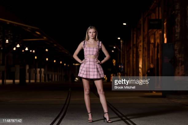 Maggie Laine attends the Angels by Russell James Australian Book Launch during MercedesBenz Fashion Week Resort 20 Collections at Carriageworks on...