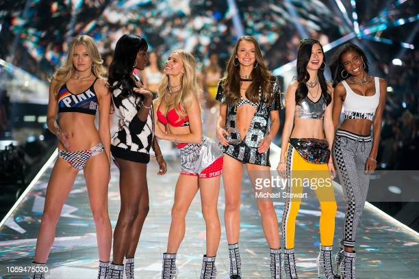 Maggie Laine Zuri Tibby Josie Canseco Alannah Walton Estelle Chen and Isilda Moreira walk the runway during the 2018 Victoria's Secret Fashion Show...