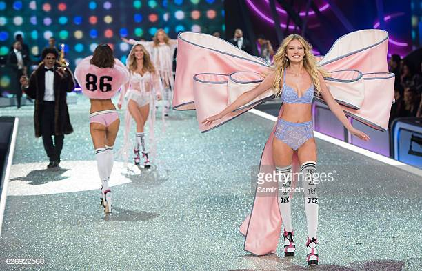 Maggie Lane walks the runway during the annual Victoria's Secret fashion show at Grand Palais on November 30 2016 in Paris France