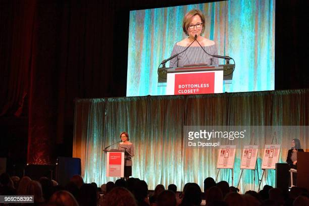 Maggie Lear speaks on stage at the Bottomless Closet's 19th Annual Spring Luncheon on May 16 2018 in New York City