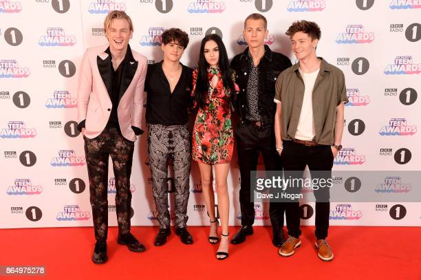 Maggie Lindemann poses with Tristan Evans Brad Simpson James McVey and Connor Ball of The Vamps at the BBC Radio 1 Teen Awards 2017 at Wembley Arena...