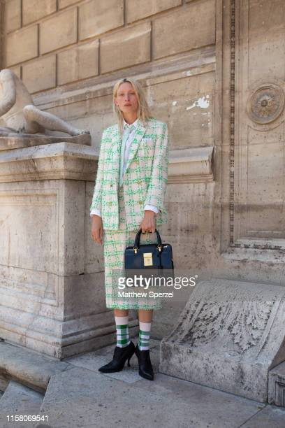 Maggie Maurer is seen on the street during men's Paris Fashion Week wearing Thom Browne on June 22 2019 in Paris France
