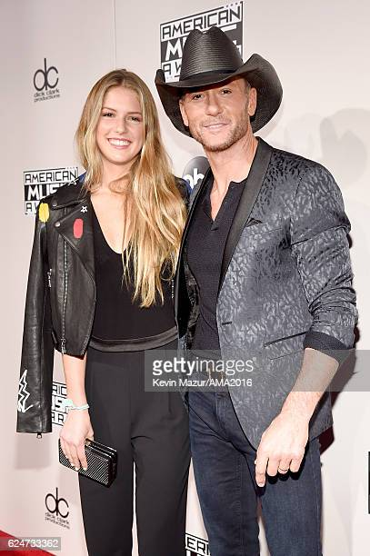 Maggie McGraw and singer Tim McGraw attend the 2016 American Music Awards at Microsoft Theater on November 20 2016 in Los Angeles California